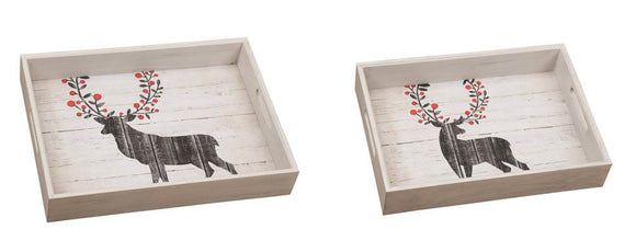 Wooden Reindeer Serving Trays Set