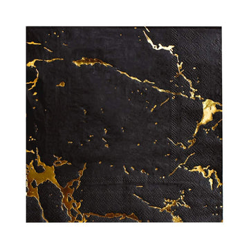 Black and Gold Marble Napkins (Large) - Preorder