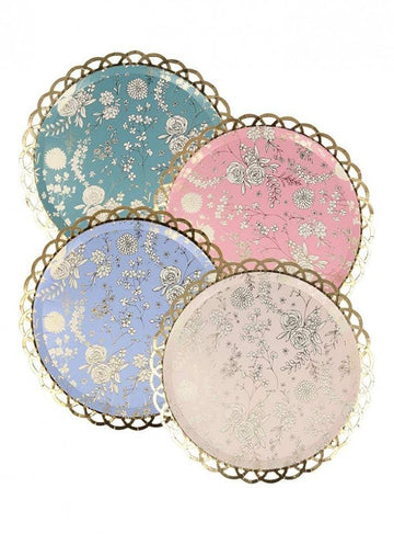 Floral Chinoiserie Lattice Plates