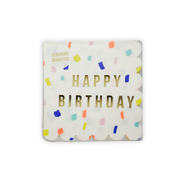 Rainbow Confetti Happy Birthday Napkins