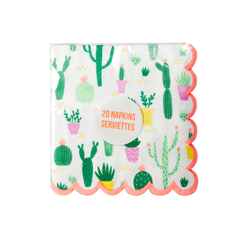 Scalloped Cactus Cocktail Napkins - Small