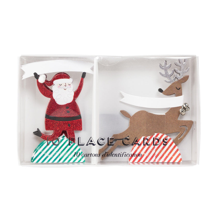 Glitter Santa and Reindeer Place Cards