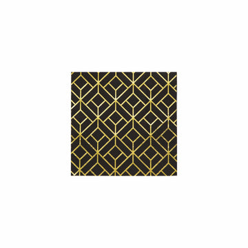 Black and Gold Deco Napkins - Large