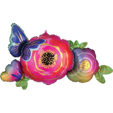 Jumbo Butterfly and Flowers Balloon