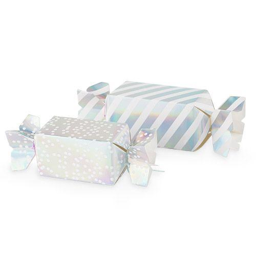 Assorted Silver Iridescent Treat Boxes