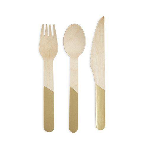 Gold dip dyed wood cutlery