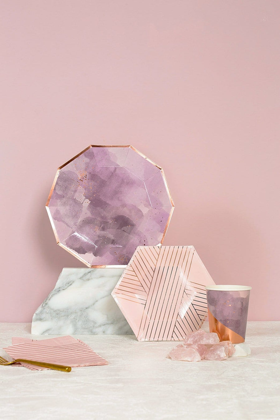 Amethyst and Rose Gold Plates - Large