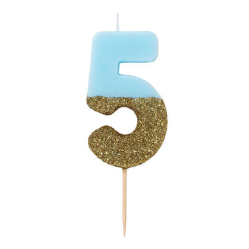 Blue and Gold Glitter Number Candle - 5