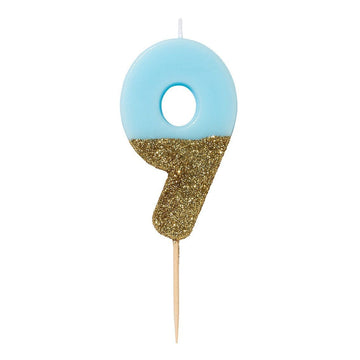 Blue and Gold Glitter Number Candle - 9