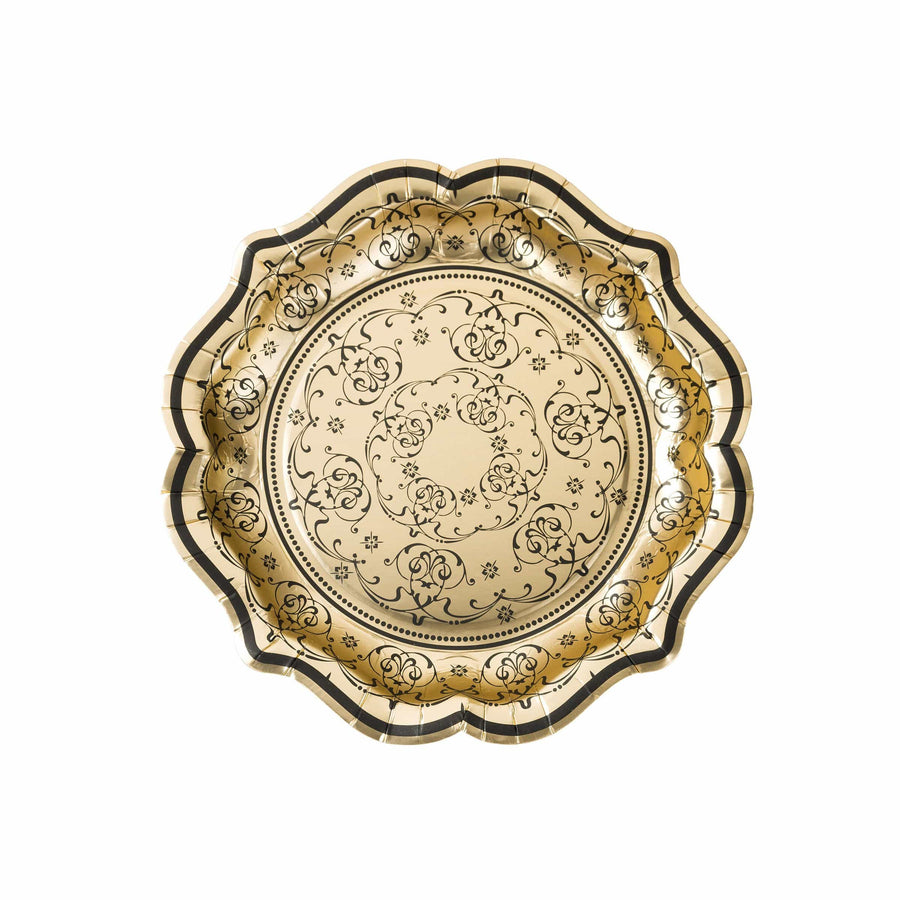 Party Porcelain Gold Baroque Plates
