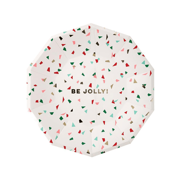 Be Jolly Confetti Christmas Plates - Large