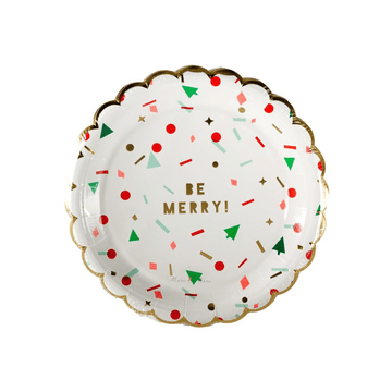Be Merry Christmas Confetti Scallop Plates - Small