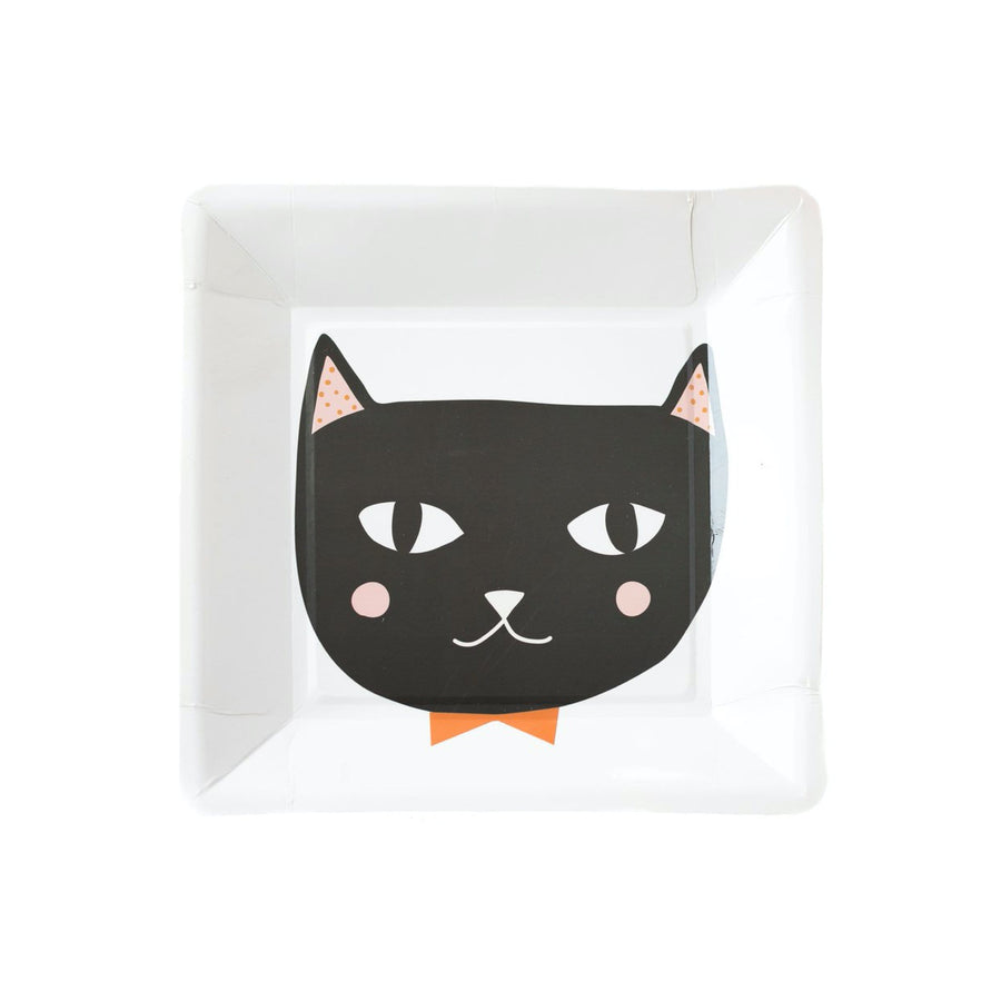 Vintage Black Cat Bow Tie Plates