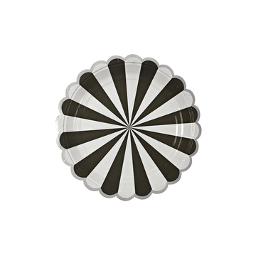 Black Stripe Scalloped Plates - Small