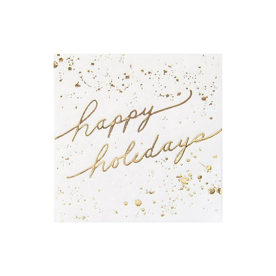 White and Gold Happy Holidays Napkins