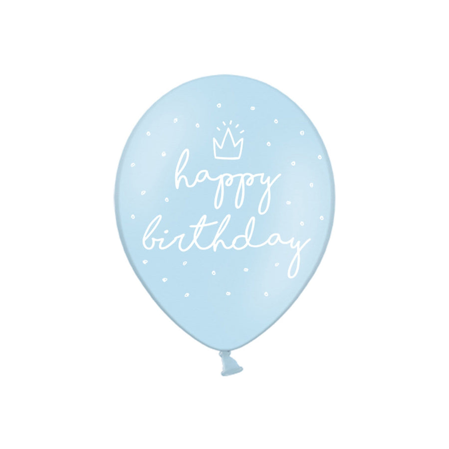 Blue Crown Happy Birthday Balloons