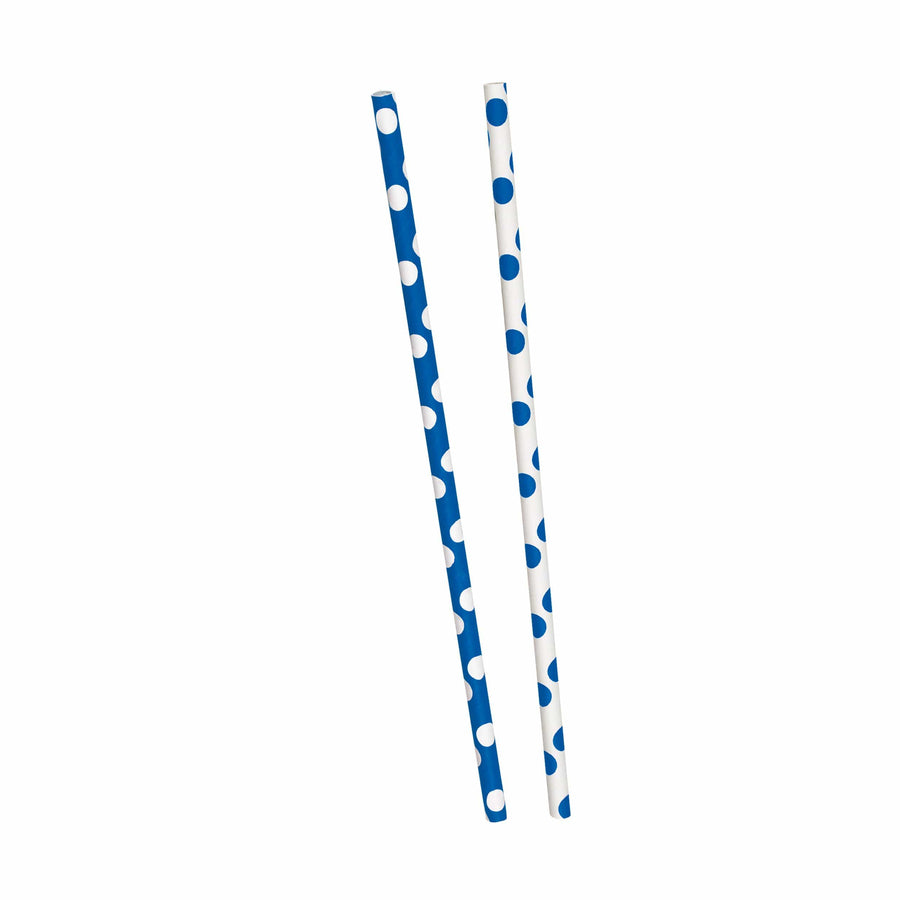 Blue Dots Paper Straws