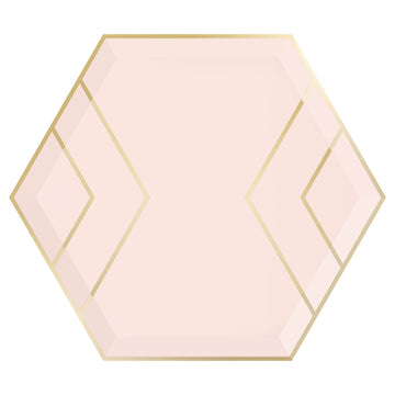 Blush Pink and Gold Hexagon Plates