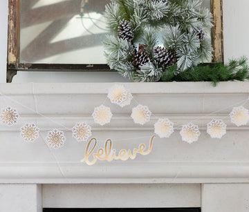 Gold Foil Snowflake Banner