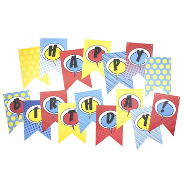 Superhero Comic Pop Happy Birthday Banner