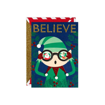 Santa's Elf Believe Glitter Card