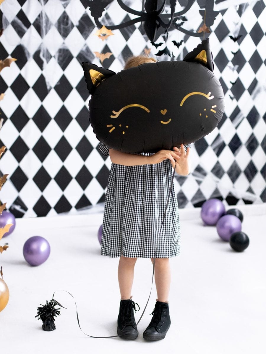 Smiling Black Cat Foil Balloon