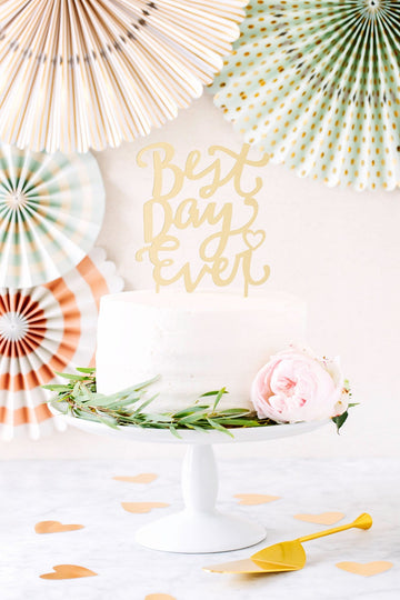 Best Day Ever Gold Acrylic Cake Topper