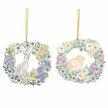 Bunny and Chick Wooden Wreath Ornaments