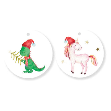 Christmas dinosaur and unicorn gift tags