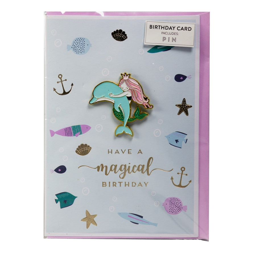 Mermaid Birthday Card with Pin