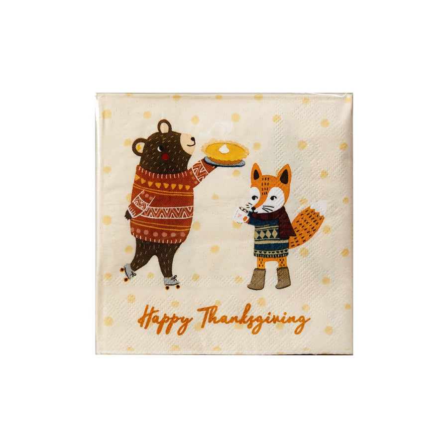 Thanksgiving Critter Fox and Bear Napkins