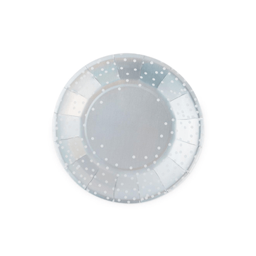 Iridescent Silver Dot Plates - Small
