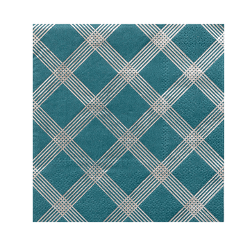 Silver Plaid Cocktail Napkins