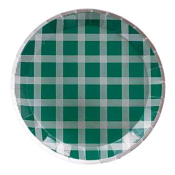 Silver Plaid Party Plates