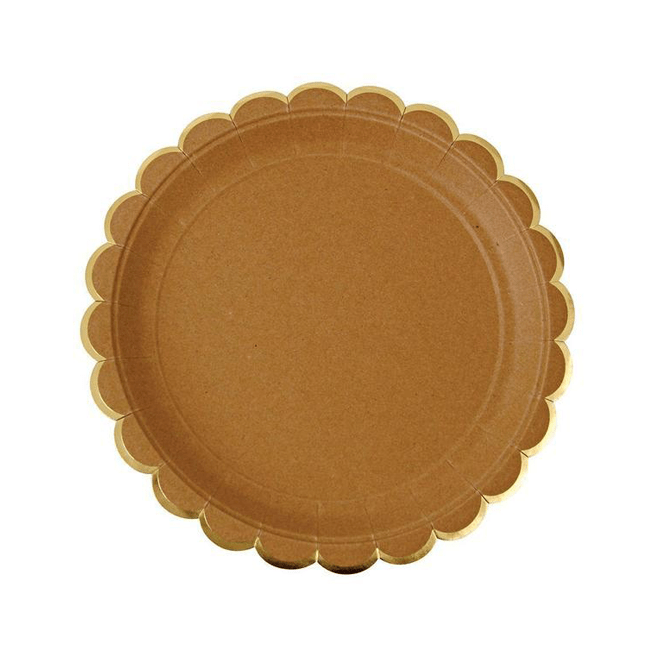 Kraft Scalloped Plates - Large