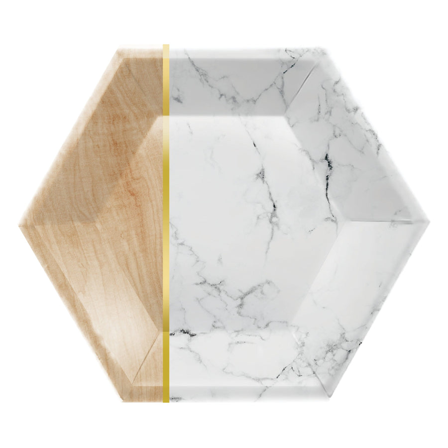 Marble and Wood Grain Plates - Large