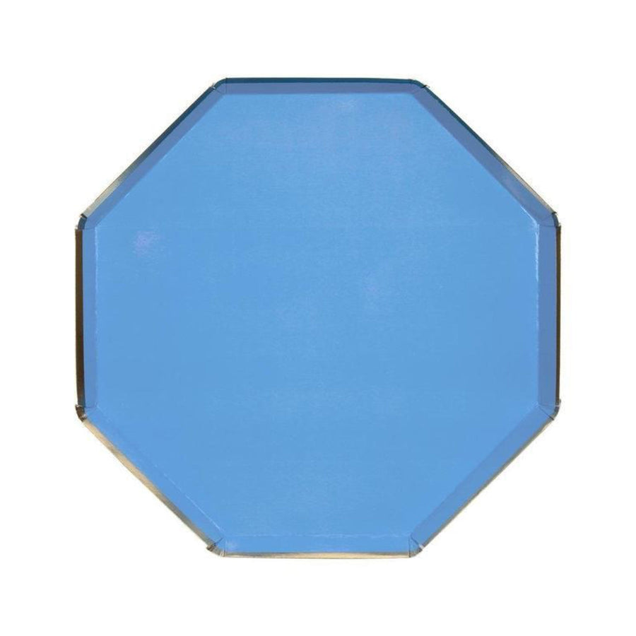 Blue Octagon Geometric Plates