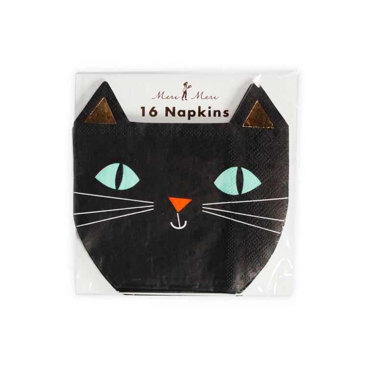 Black Cat Die Cut Halloween Napkins - Light Green Eye, Copper Foil Version