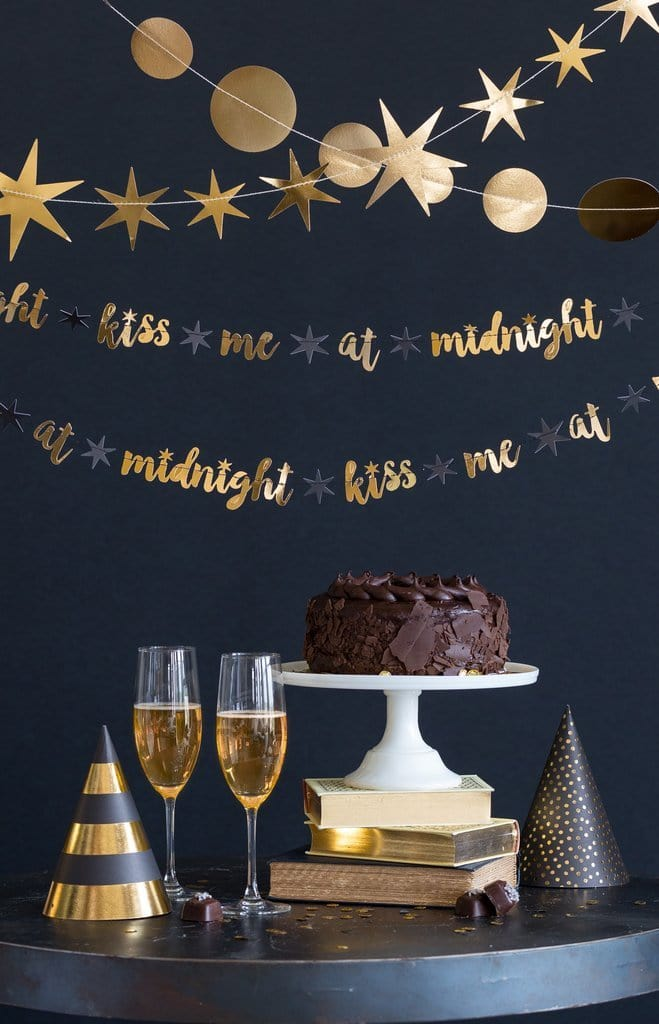 Kiss Me At Midnight Gold New Year's Banner