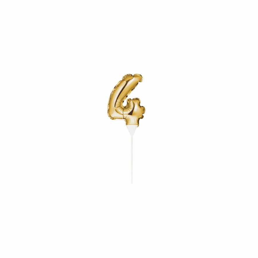 Gold Mini Balloon Number Cake Topper - 4