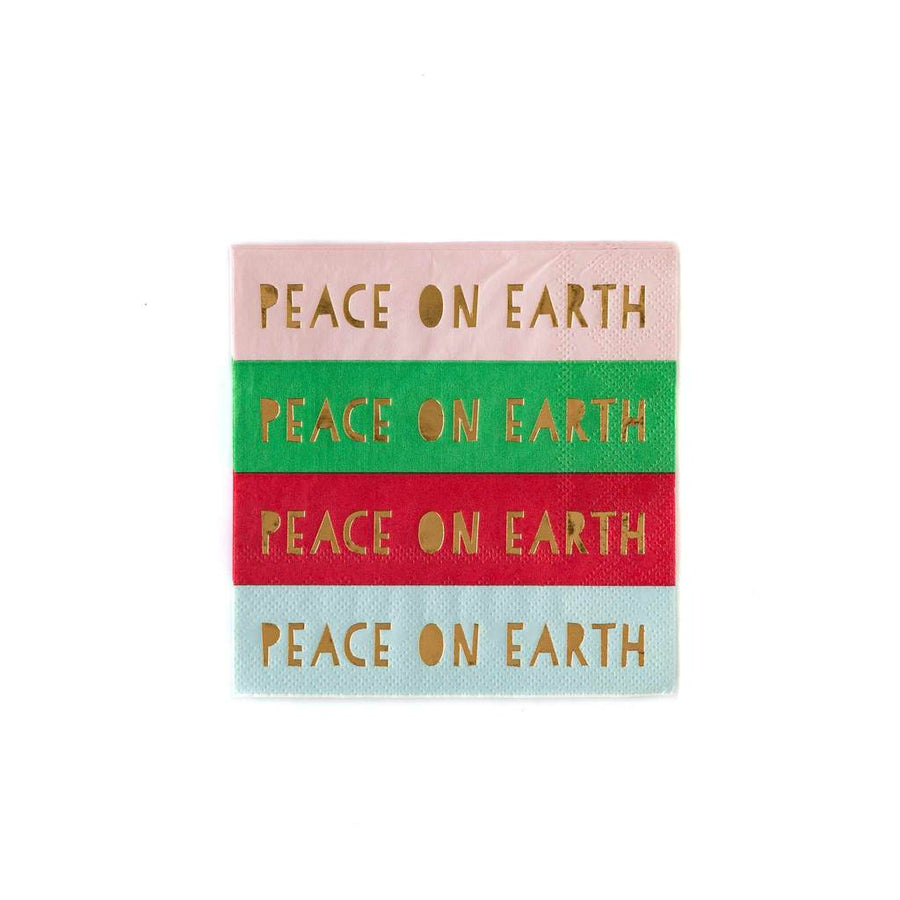 Peace On Earth Rainbow Christmas Napkins