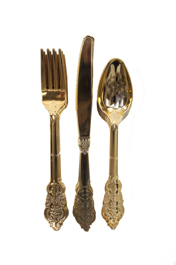 Baroque Gold Plastic Cutlery