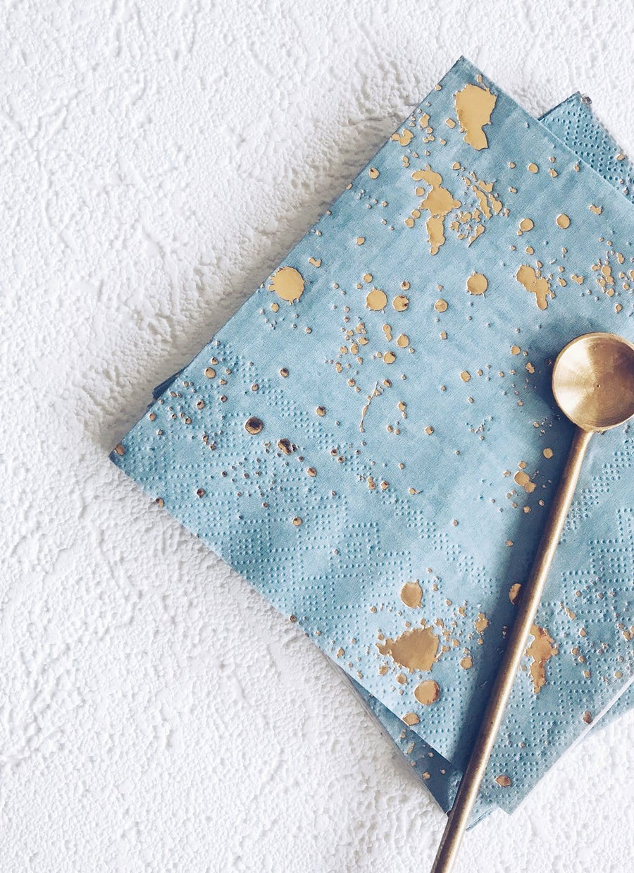 Blue and Gold Flecked Napkins - Large