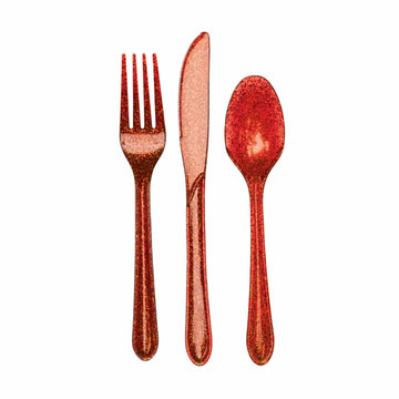 Red Glitter Party Cutlery
