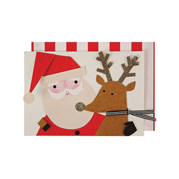 Santa and Reindeer Hug Card