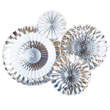 Silver Chrome Foil Party Fans