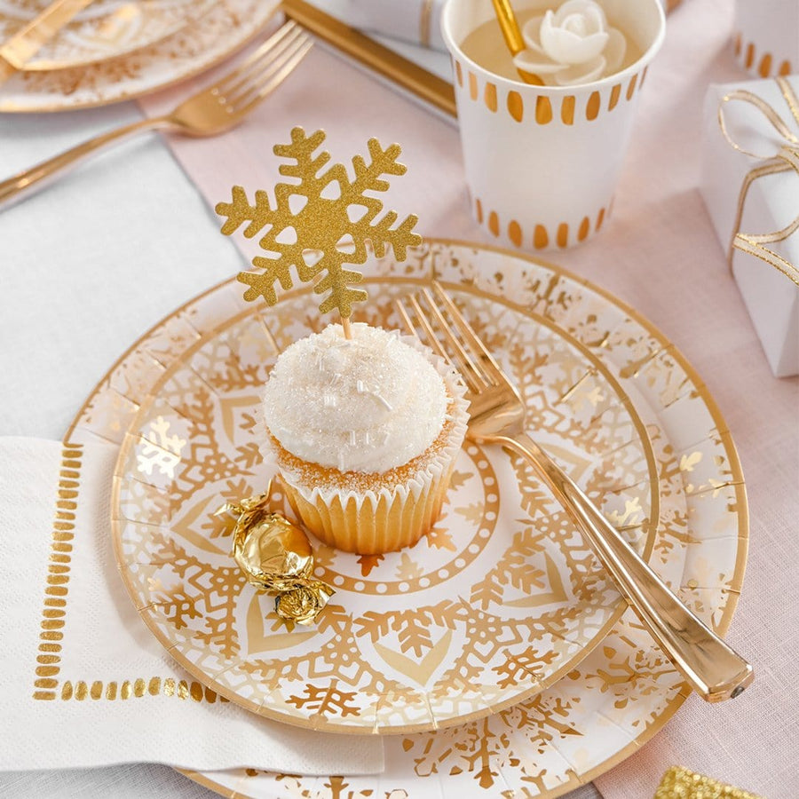 Golden Snowflake Plates - Small