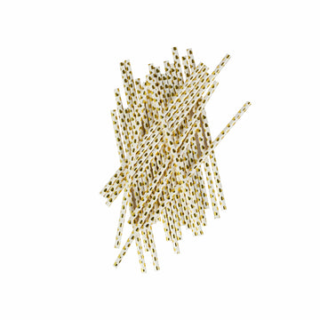 Gold Heart Paper Straws