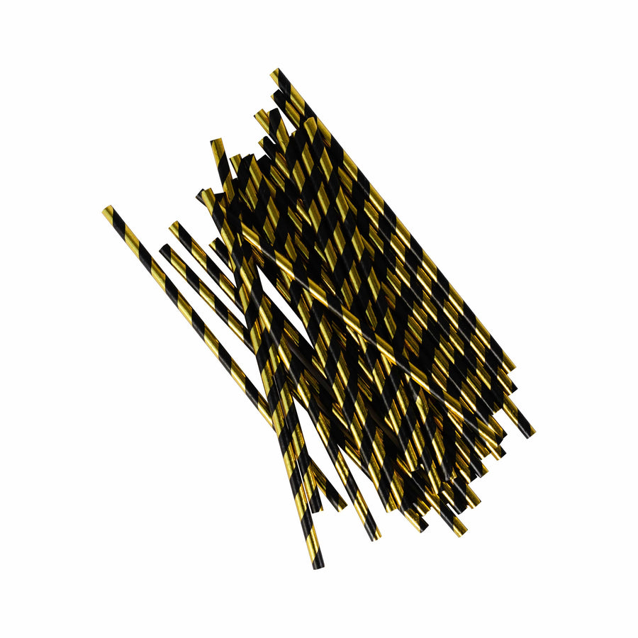 Onyx and Gold Striped Paper Straws