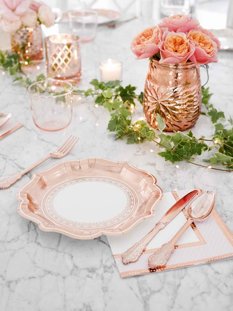 Baroque Disposable Plastic Rose Gold Cutlery